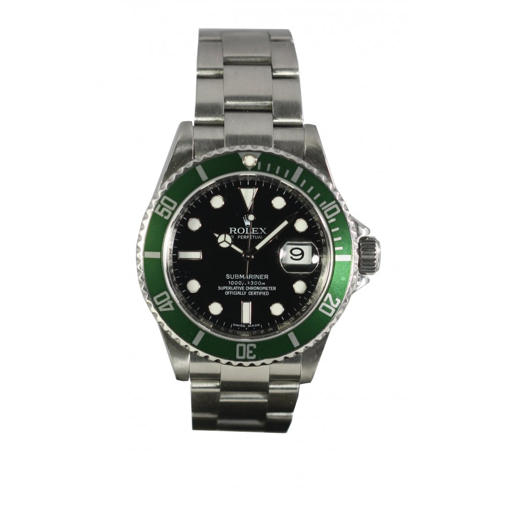 pre owned rolex mens oyster perpetual 50th anniversary submariner watch 16610lv pre owned. Black Bedroom Furniture Sets. Home Design Ideas