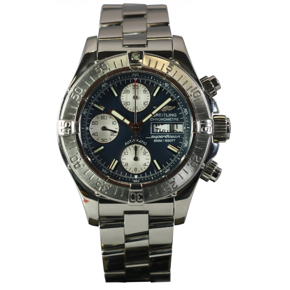 Pre owned breitling mens superocean automatic watch pre owned breitling from market cross for Breitling automatic