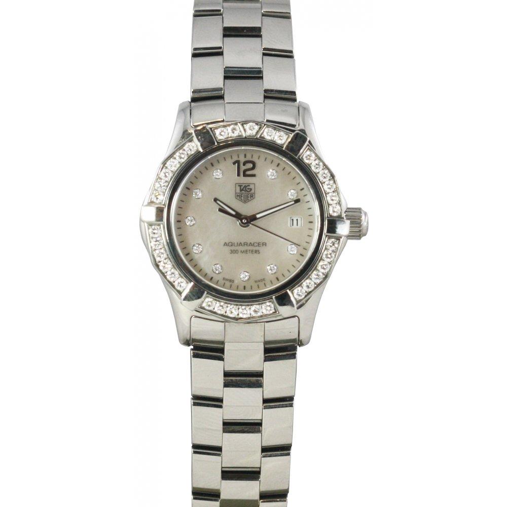 Pre owned tag heuer ladies diamond set aquaracer pre owned tag heuer from market cross for Tag heuer women