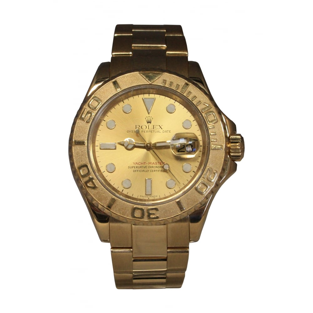 pre owned rolex s 18ct yellow gold yachtmaster